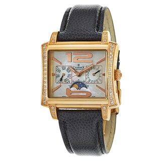 Charmex Black/Gold-tone Leather Luxury Watch