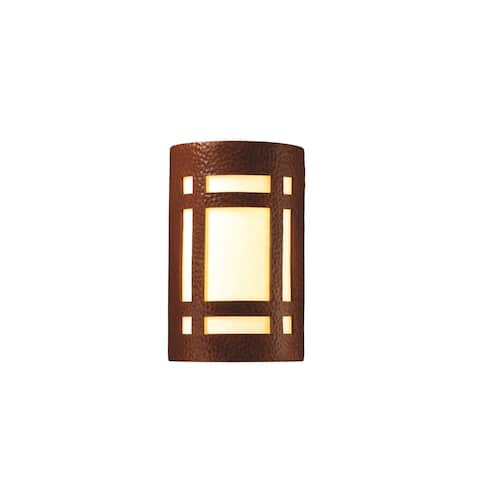 Justice Design Group Ambiance Hammered Copper Small Craftsman Window Wall Sconce