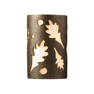 Justice Design Group Ambiance Brass Small Oak Leaves Wall Sconce