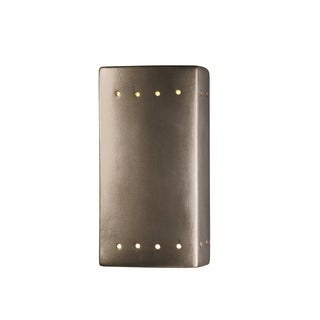 Justice Design Group Ambiance ADA Silver Small Rectangle with Perfs Wall Sconce