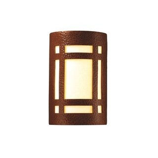 Justice Design Group Ambiance ADA Hammered Copper Small Craftsman Window Wall Sconce