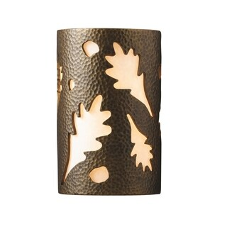 Justice Design Group Ambiance ADA Brass Large Oak Leaves Wall Sconce