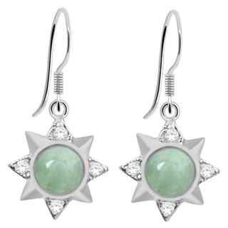 Orchid Jewelry 925 Sterling Silver 2.66 Carat Grren Aventurine and Cubic Zirconia Earrings