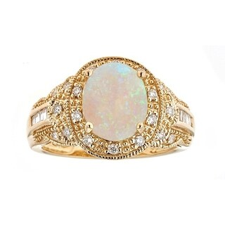 Anika and August 14k Yellow Gold Australian Opal and Diamond Accent Ring (G-H, I1-I2)