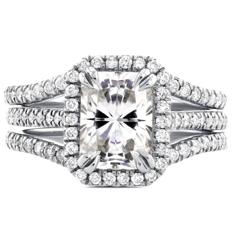 Annello by Kobelli 14k White Gold Radiant Cut Moissanite and 3/5ct TDW Halo Diamond 3-Piece Bridal Rings Set