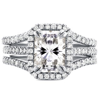 Annello 14k White Gold Radiant Cut Moissanite and 3/5ct TDW Halo Diamond 3-Piece Bridal Rings Set (G-H, I1-I2)