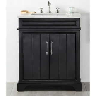 Legion Furniture Espresso Wood Quartz Top 30-inch Sink Vanity without Faucet