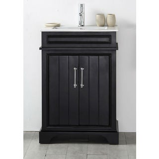 Legion Furniture Espresso Wood 24-inch Sink Vanity with Ceramic Top and No Faucet