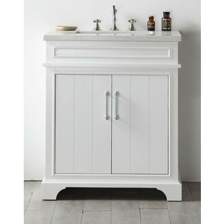 Legion Furniture White Wood 30-inch Quartz-top No-faucet Sink Vanity