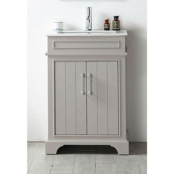 Legion Furniture Espresso Wood Ceramic Top 24 Inch Single Sink Bathroom Vanity Free Shipping