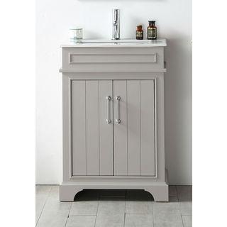 Legion Furniture Espresso Wood Ceramic-top 24-inch Single-sink Bathroom Vanity