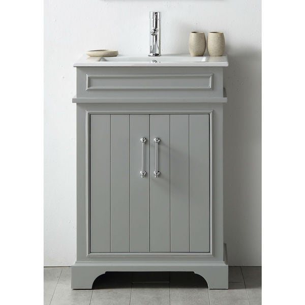 Shop Legion Furniture Cool Grey Wood 24 Inch Sink Vanity With Ceramic Top Free Shipping Today