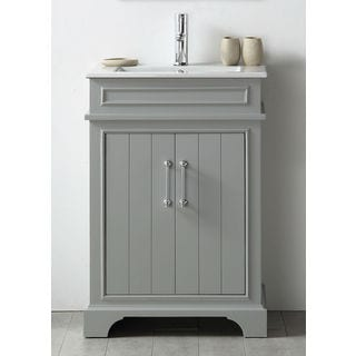 Legion Furniture Cool Grey Wood 24-inch Sink Vanity With Ceramic Top