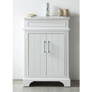 Legion Furniture White Wood 24-inch Ceramic-top No-faucet Sink Vanity