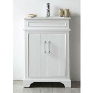 Legion Furniture White Wood 24-inch Ceramic-top No-faucet Sink Vanity
