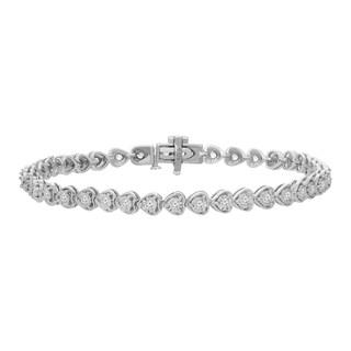 Sterling Silver 1ct TDW Rose-cut Diamond Heart Link Tennis Bracelet (I-J, I3)
