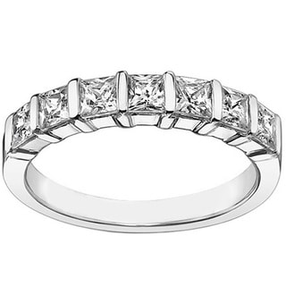 14k/18k White Gold 1 1/4ct TDW Channel Bar 7-stone Princess-cut Diamond Wedding Ring