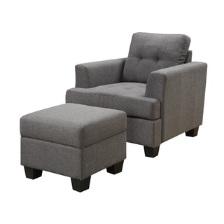 Emerald Clearview Grey Microfiber Contemporary Chair