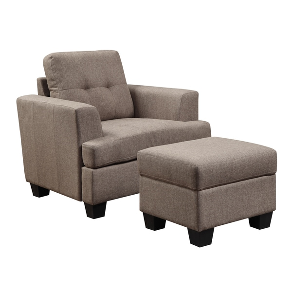 Grey Accent Chair Brown Block Legs: Shop Clearview Brown Accent Chair With Tufted Cushions