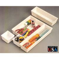 Dial Industries B689 WHT Drawer Organizer Set Assorted Sizes 10-ct
