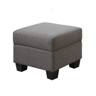 Emerald Clearview Grey Microfiber Contemporary Ottoman