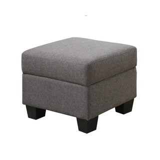 Emerald Home Clearview Grey Microfiber Contemporary Ottoman