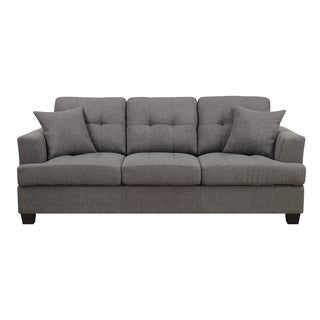 Emerald Clearview Grey Microfiber Contemporary Sofa