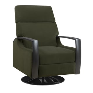 Wendy Black Wood Arm and Base Swivel Recliner Chair