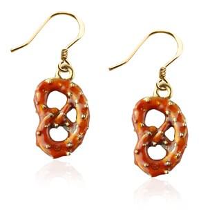 Pretzel Charm Earrings in Gold