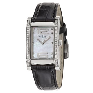 Charmex Black/Silvertone Leather/Stainless Steel Swiss Quartz Watch
