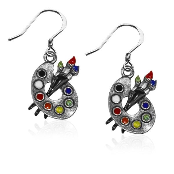 f3cad568d88a1 Shop Artist Palette Charm Earrings in Silver - On Sale - Free ...