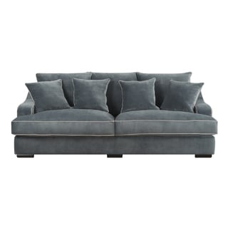 Emerald Caresse Marine Blue Plush Oversized Sofa