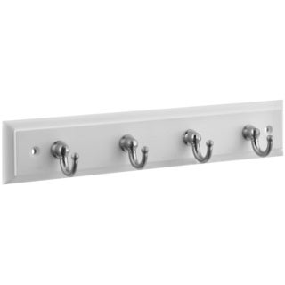 "Stanley Hardware 813071 4 Satin Nickel Hooks On 9"" White Rail Keytidy"