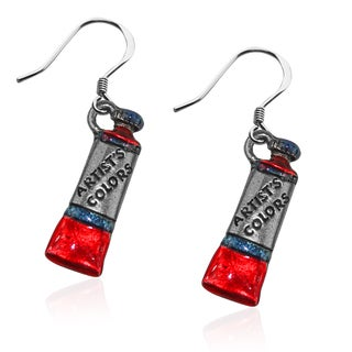 Artist Paint Tube Charm Earrings in Silver