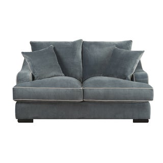 Emerald Caresse Marine Blue Plush Oversized Loveseat