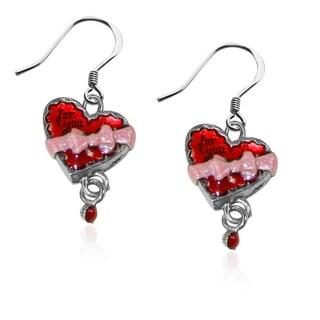 Heart Brown Box Charm Earrings in Silver