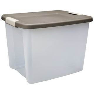 Sterilite 19378606 50 Quart Clear Base Shelf Tote