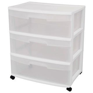 Sterilite 29308001 3 Drawer White Wide Storage Drawer Cart