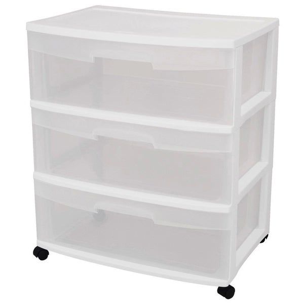 Shop Sterilite 29308001 3 Drawer White Wide Storage Drawer Cart   Free  Shipping Today   Overstock.com   12806205