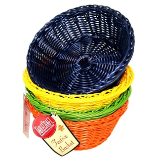 "TCP Tablecraft HM1175A 8-1/4"" X 3-1/4"" Round Rattan Basket Assorted Colors"