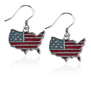 Stars and Stripes Flag Charm Earrings in Silver