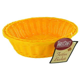 "TCP Tablecraft HM1186Y 12"" X 4"" Round Yellow Handwoven Basket"