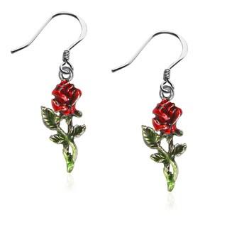 Rose Charm Earrings in Silver