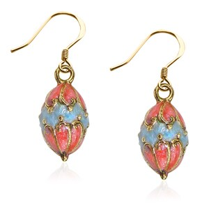 Easter Egg Charm Earrings in Gold