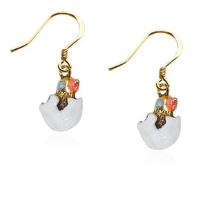 Easter Chick Charm Earrings in Gold