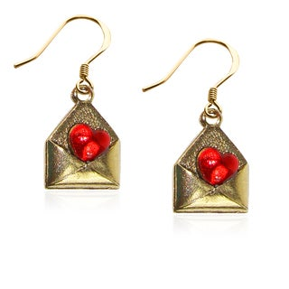 Love Letter Charm Earrings in Gold