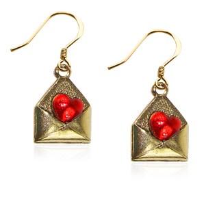 Love Letter Charm Earrings in Gold