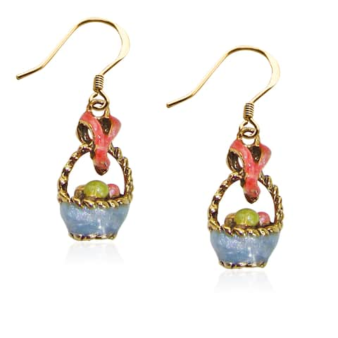 Easter Basket Charm Earrings in Gold