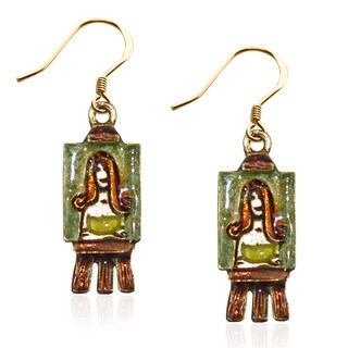 Artist Picture Charm Earrings in Gold