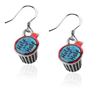 Half and Half Charm Earrings in Silver